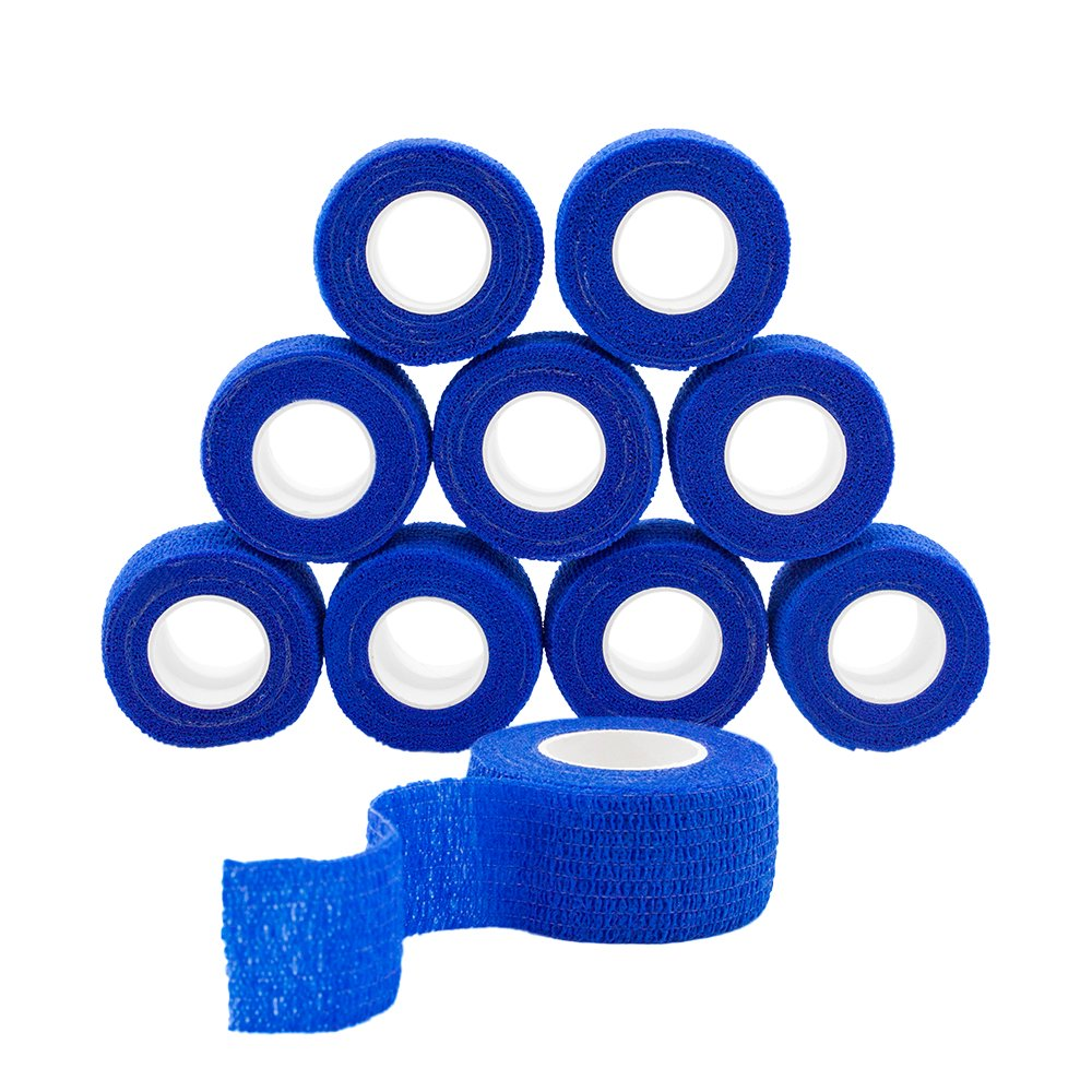 GooGou Self Adhesive Bandage Finger Tape Rolls Non-woven Ventilate Flexible Wrap for Sprain Swelling and Soreness on Wrist and Ankle 10PCS 1 in X 14.7 ft (blue)