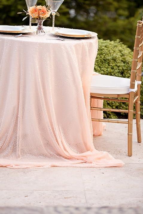 DUOBAO Sequin Tablecloth 90x120 Inch Peach Rectangle Premium Quality Glitz  Sequin Table Linen