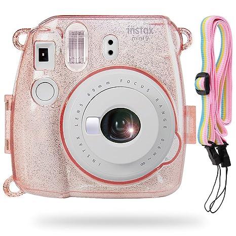 Katia Instax Mini 8 Caja de cristal de PVC con correa de hombro para Fujifilm Instax