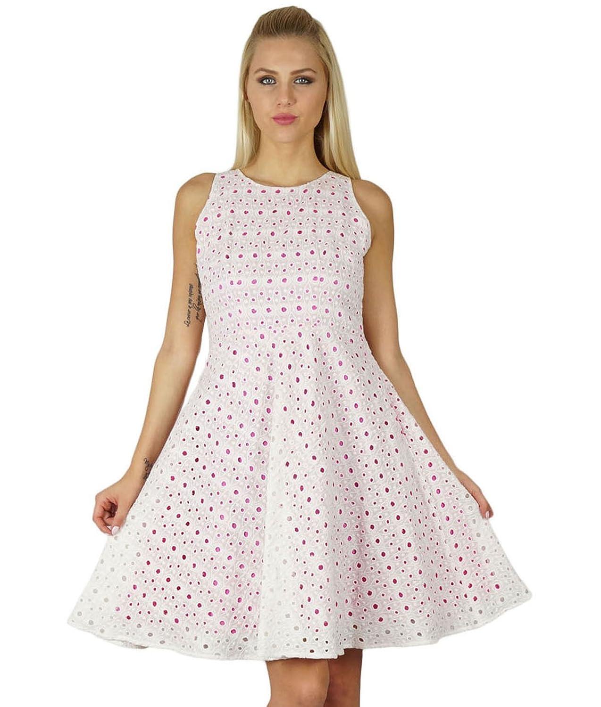 Bimba Frauen Chikan Gewebe Baumwolle Etuikleid Colored Futter weißen ärmellosen Kleid Puff