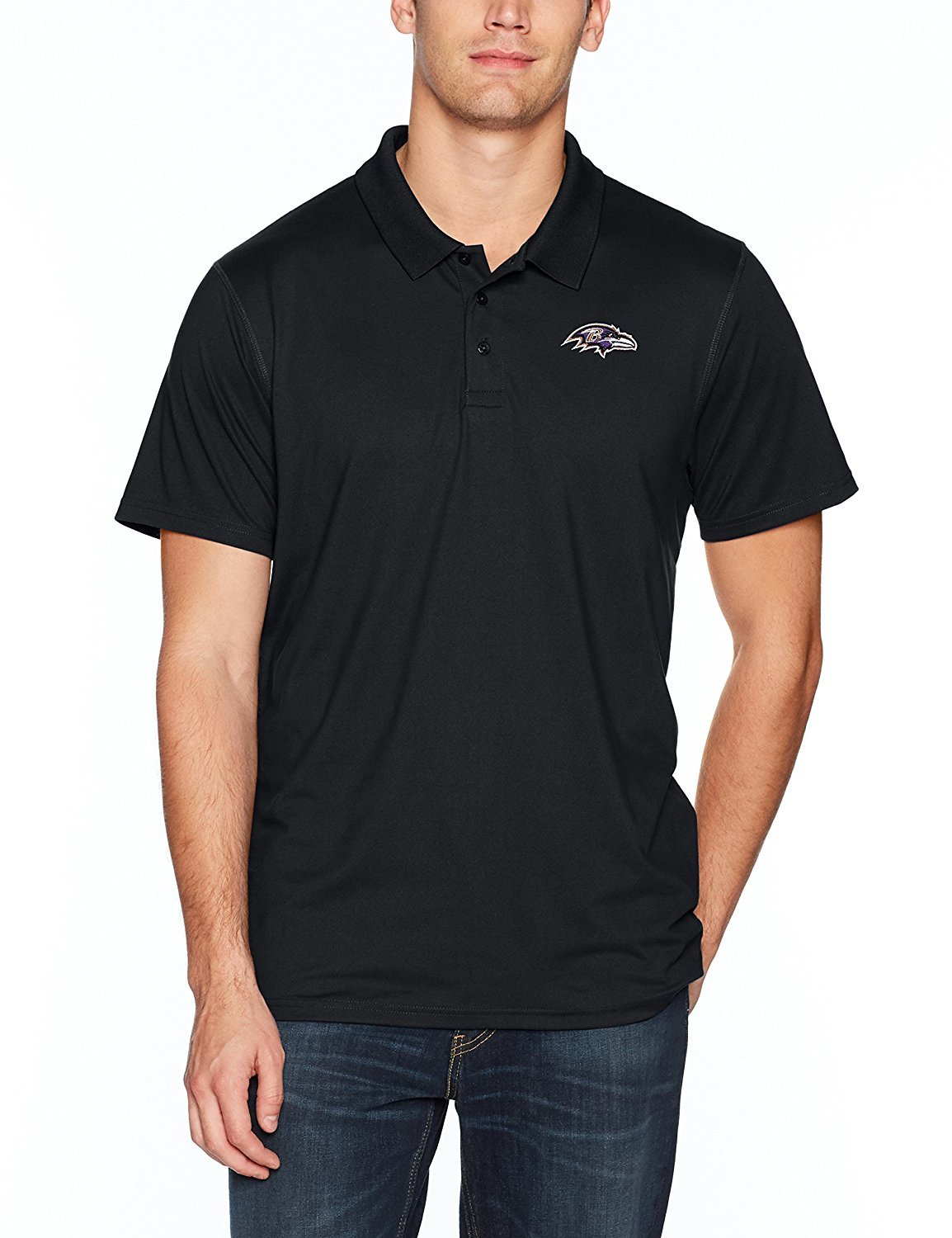 NFL Baltimore Ravens Men's Sueded Short Sleeve Polo Shirt, Logo, Small