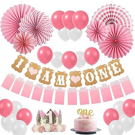 Sweetneed Cumpleaños Rosa Decoracion de Fiestas de 1 año Corona Cumpleaños Papel de Ventilador 1-12 Meses Mensual Pared De La Foto