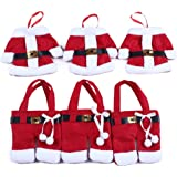 Holders Knife and Fork Bags Table Decoration ,Traditional Red and White Santa Suit Christmas Silverware Holder,3 sets,6 pcs