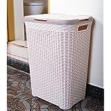 OHELIGO Plastic 70 L Rattan Laundry Basket for Room with Lid(44X34X60cm, Ivory)