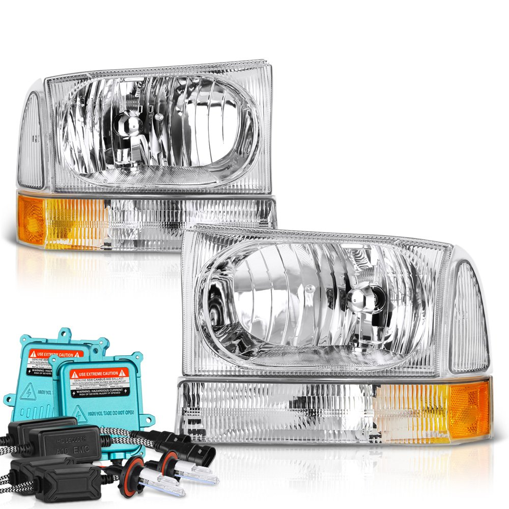 VIPMOTOZ Chrome Headlight & Amber Turn Signal Corner Lamp Assembly Set For 1999-2004 Ford Superduty F-250 F-350 Pickup Truck & Excursion, Driver & Passenger Side