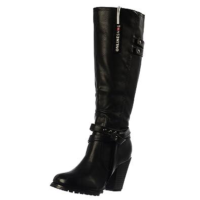 Onlineshoe Women's Tall Knee High Biker Boots With Straps and Heel Boots  UK3 - EU36 -