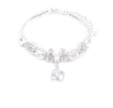 c9d6a436a SanaBelleTM 50th Birthday Charm Bracelet Women's Gift Boxed: Amazon ...