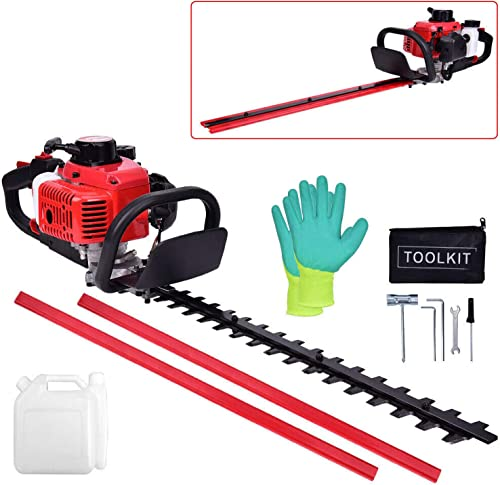EASYG 23.6cc Gas Hedge Trimmer 24 2-Cycle Recoil Gasoline Trim Blade Blade Double-Sided with Safety Gloves and Some Accessories