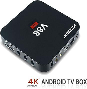 V88 Android TV 6.0, Caja de desplazamiento 4K 3D Smart TV,Reprodcutor Blue-Ray 1080P Media, Rockchip 3229 Quad Core EMMC 8 GB, Wifi integrado, Juegos para TV, negro: Amazon.es: Electrónica