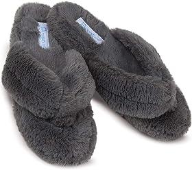 4f347018392 PajamaGram Soft Flip Flop Slippers - Fuzzy Womens Slippers
