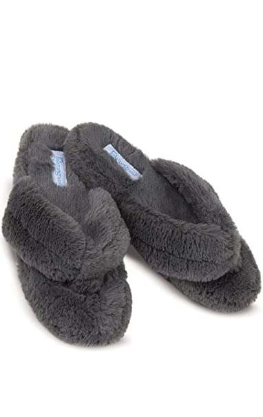 5f44b6263fa PajamaGram Fuzzy Slippers Women Washable - Thong Slippers for Women