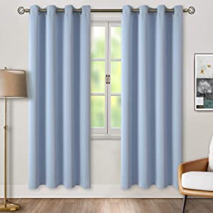BGment Blackout Curtains for Living Room - Grommet Thermal Insulated Room Darkening Curtains for Bedroom, 2 Panels of 52 x 84 Inch, Spa Blue
