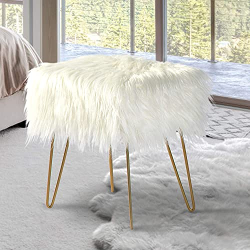 oneinmil Fuzzy Fluzzy Fur Vanity Stool Stool Seat Ottoman Foot Rest - the best ottoman chair for the money