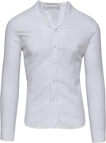 Camisa de hombre de lino blanco sastral casual elegante verano Slim Fit: Amazon.es: Ropa y accesorios
