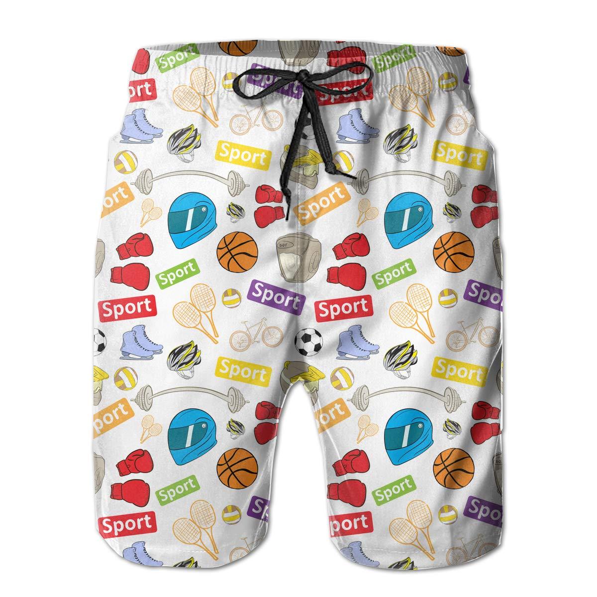Shakumen Sports Texture Mens Beach Shorts Breathable Athletic Shorts with 3 Pockets