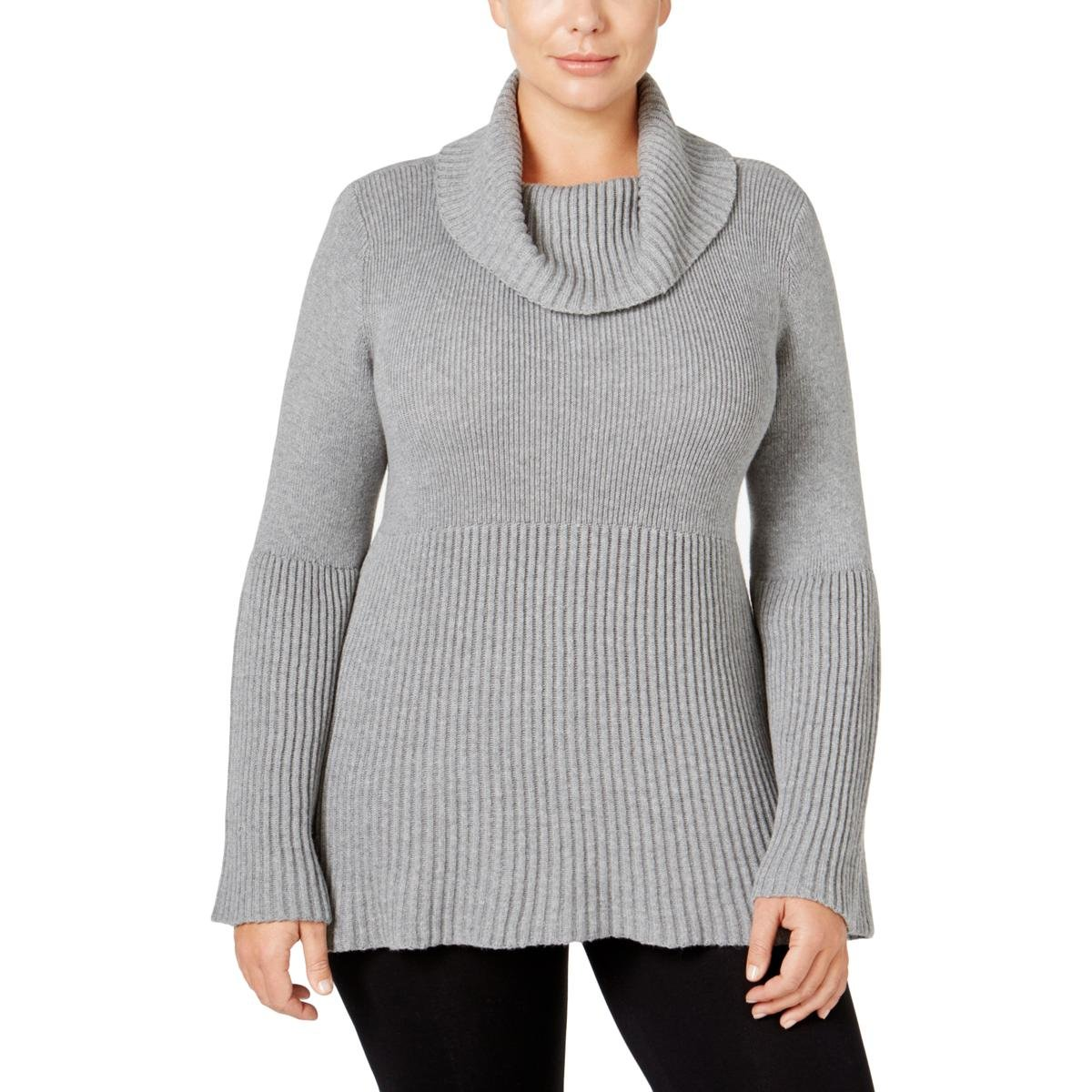 Style & Co. Womens Plus Ribbed Trim Bell Sleeve Pullover Sweater Gray 3X