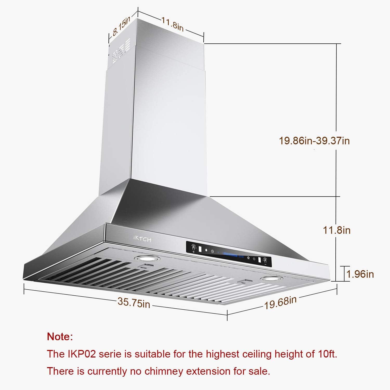 IKTCH - Campana para debajo del armario (900 CFM, sensor de gestos de 4 velocidades y panel de interruptor de control táctil, rejilla de ventilación delgada para estufa de cocina con filtros