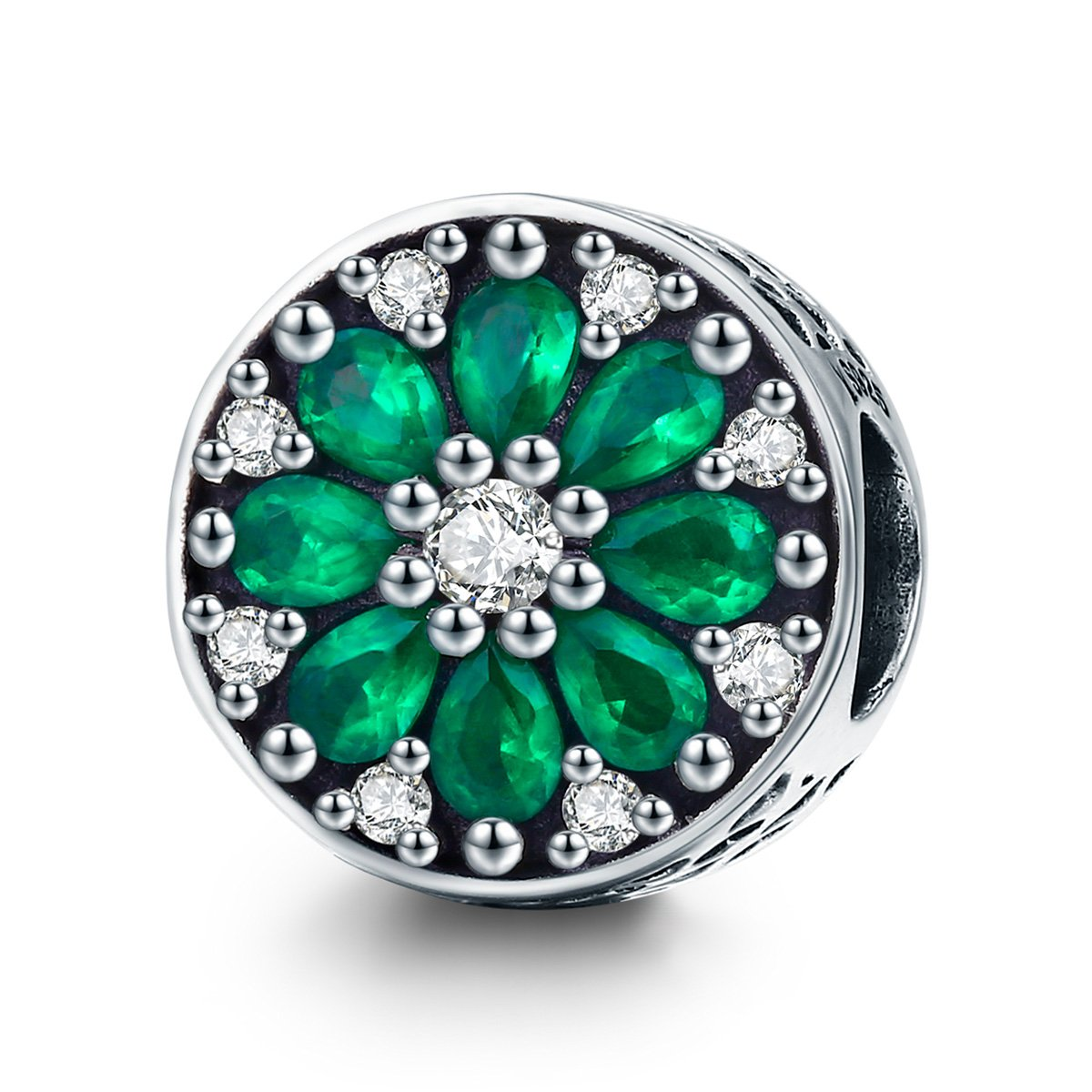 The Kiss Summer Collection Luminous Green Crystal CZ Round 925 Sterling Silver Bead Fits European Charm Bracelet
