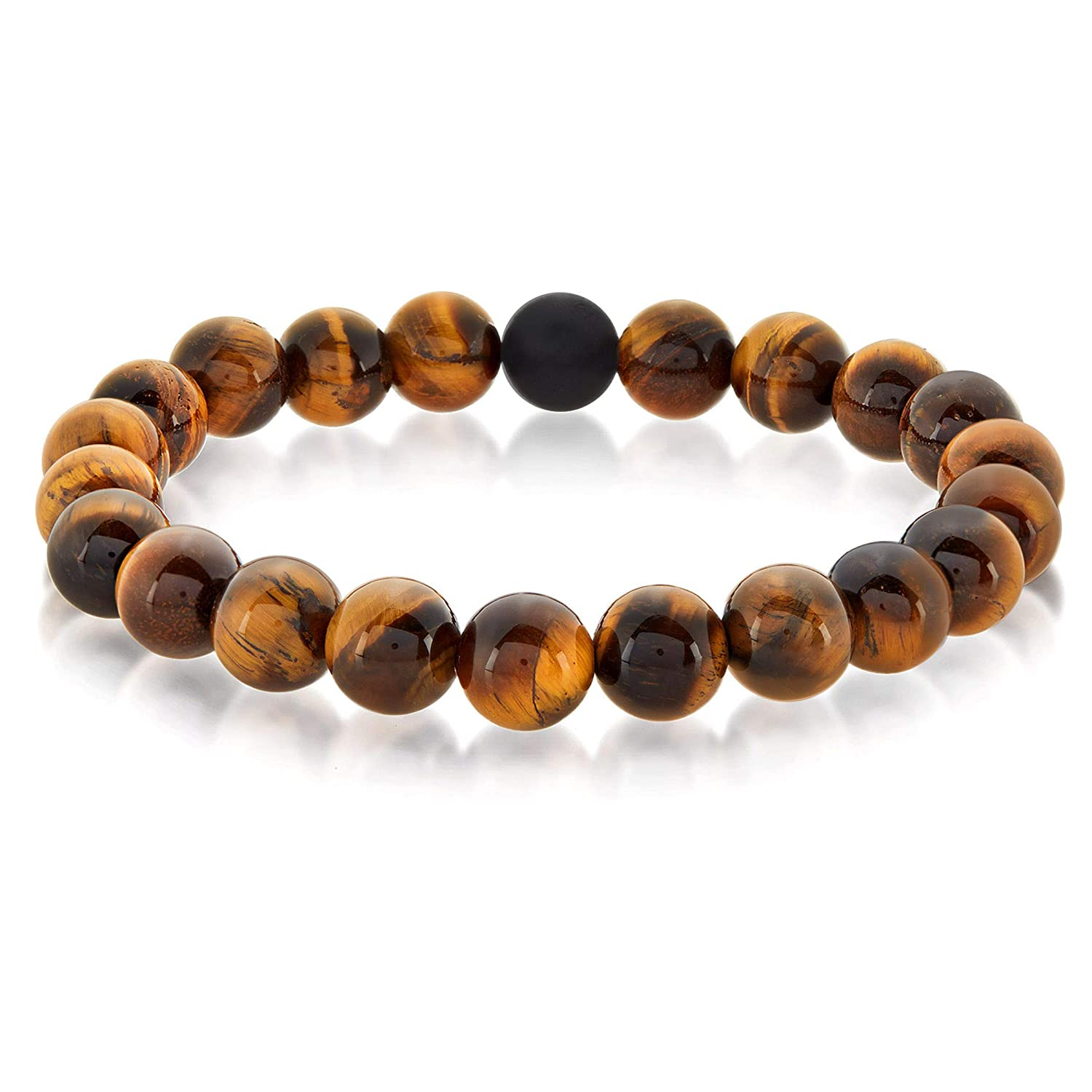 West Coast Jewelry Crucible Men/'s Slip-on Natural Stone Bead Bracelet Elastic Stretch Healing Chakra 10mm