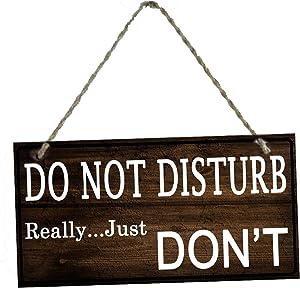Do Not Disturb Door Hanger Sign, Door Knocker Please Note Sign for Keeping Away Strangers(10 x 5inches)