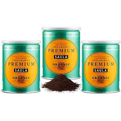 Café Saula Premium Ecológico 100% arábica molido - Pack 3 botes de 250 gr