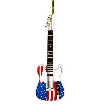 Nosotros bandera guitarra eléctrica música instrumento réplica adorno de Navidad, tamaño 5 pulgadas: Amazon.es: Hogar
