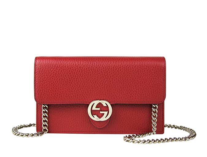 a7b50b50936 Gucci Interlocking GG Red Leather Crossbody Chain Wallet 510314 6420   Amazon.ca  Shoes   Handbags