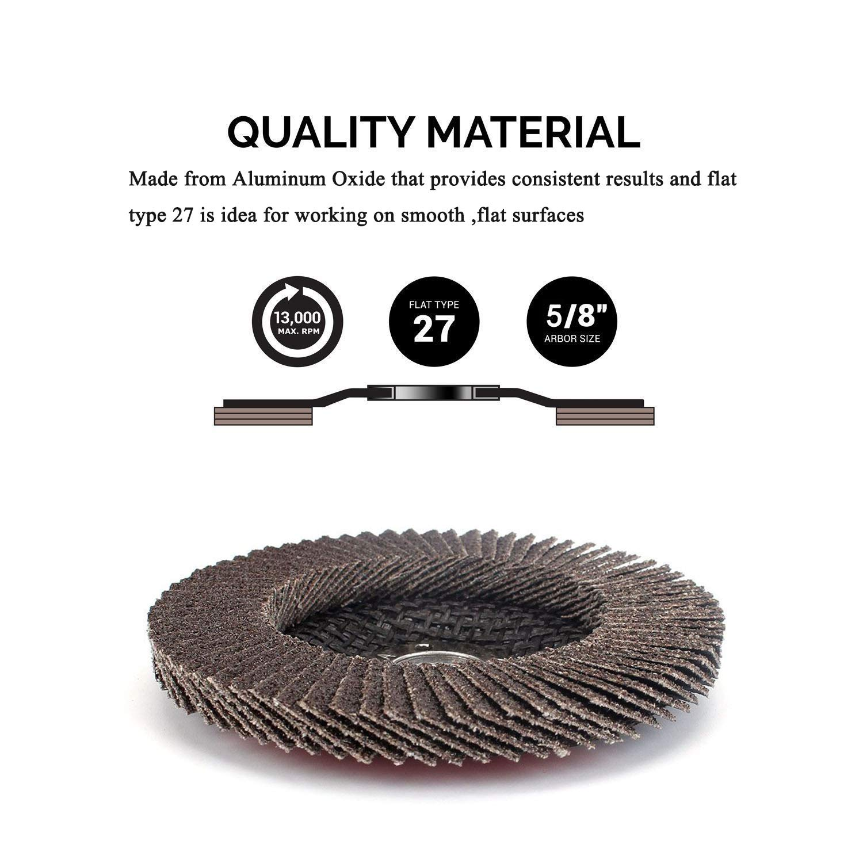 10Pack 4.5x7//8 Premium High Density Calcined Aluminum Oxide Flap Disc 320 Grit Type 29