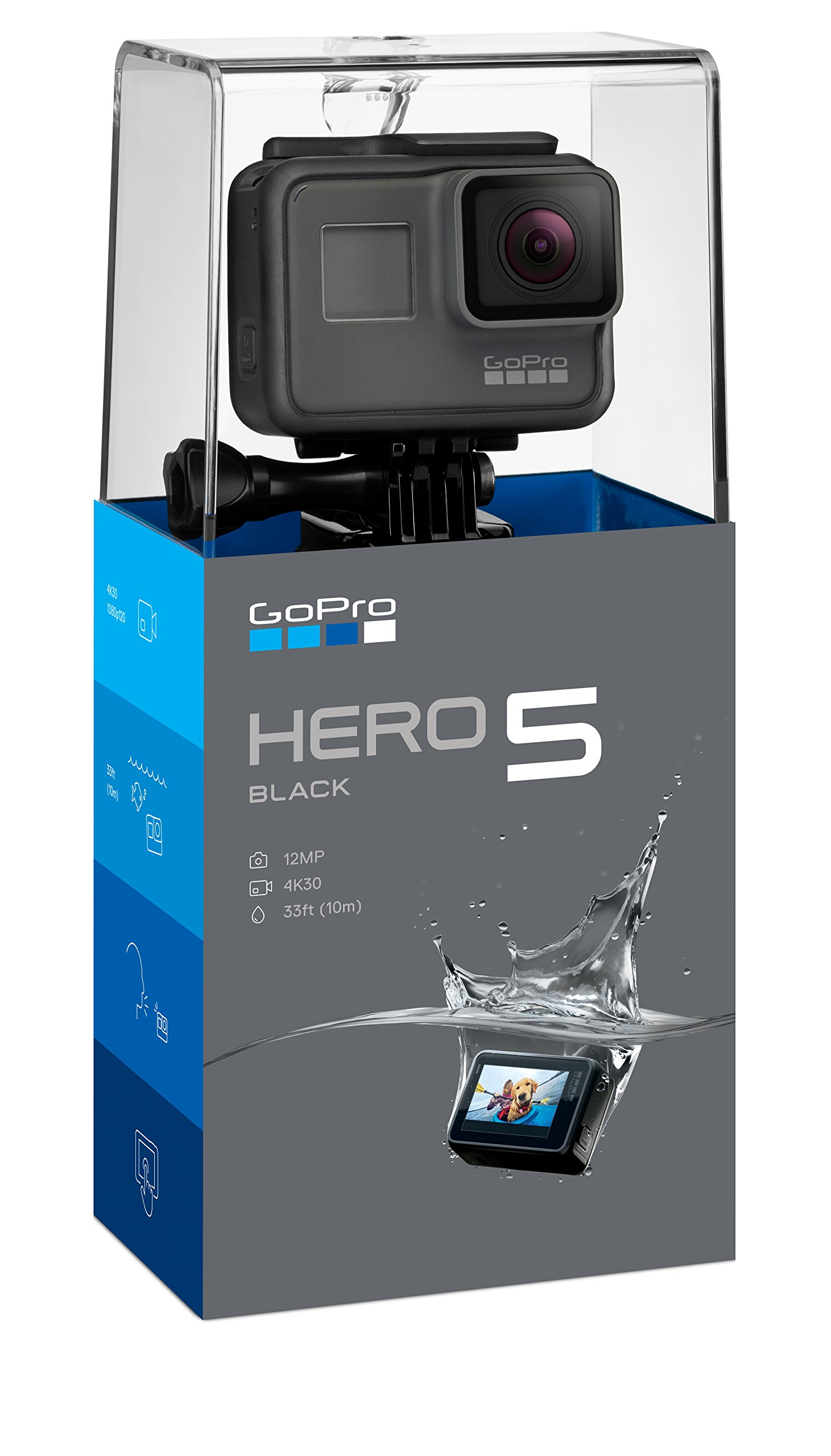 GoPro HERO5 Black - Waterproof Digital Action Camera for Travel with Touch Screen 4K HD Video 12MP Photos by GoPro