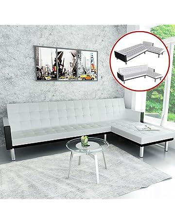 SENLUOWX Sofá Cama Versátil en Forma de L de Cuero Sintético Blanco 218 x 158 x