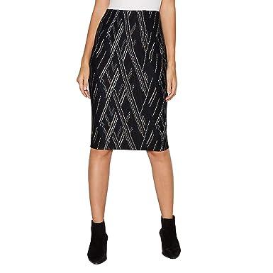 69cc3dd3fa Debenhams The Collection Womens Black Zig Zag Textured Knee Length Ponte  Skirt: The Collection: Amazon.co.uk: Clothing