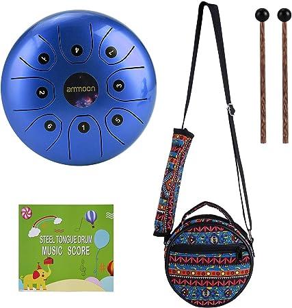 Tambor de Lengua de Acero, ammoon 5.5 Pulgadas Tongue Drum Un Regalo Especial de Instrumentos Musicales, Tratamiento de Sonido, con Bolsa, Baqueta, ...