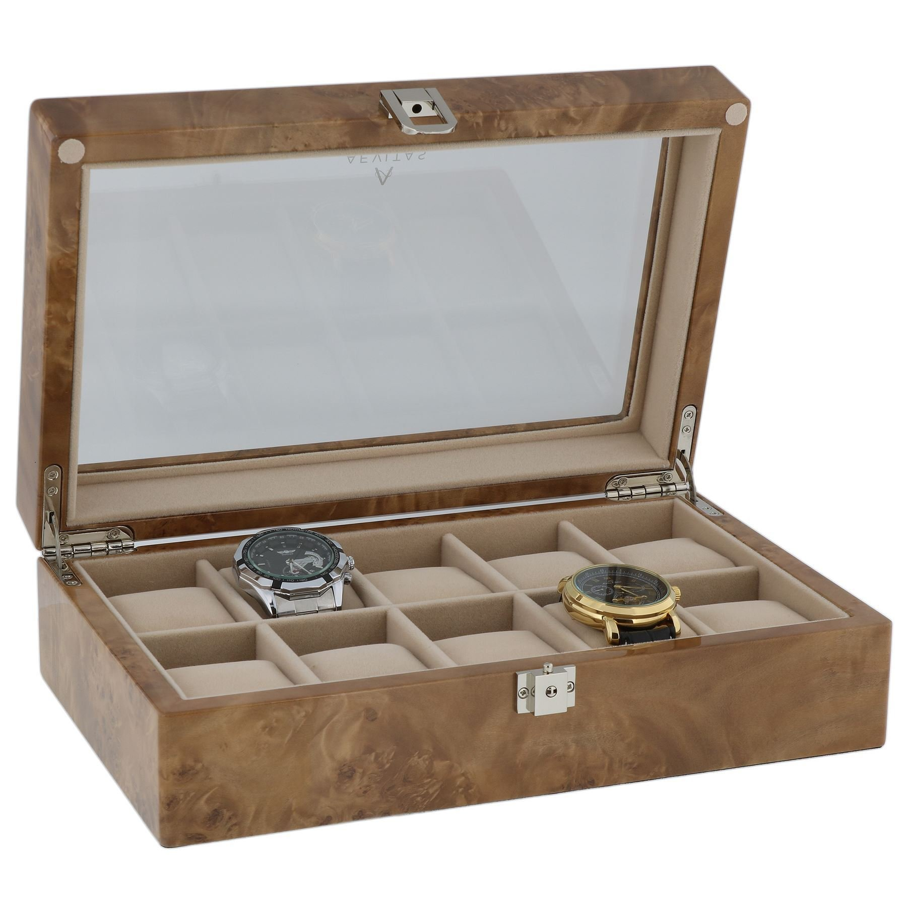 Watch Collectors Box for 10 Wrist Watches in Light Burl Wood by Aevitas