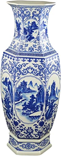 Festcool 25 Classic Blue and White Hexagonal Porcelain Vase, Landscape Painting Ceramic China Qing Style D9