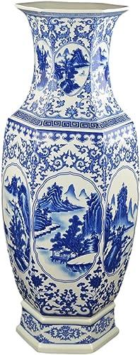 Festcool 25″ Classic Blue and White Hexagonal Porcelain Vase
