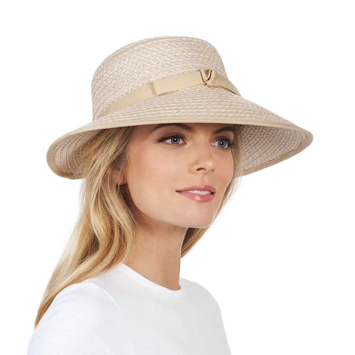 Eric Javits Luxury Fashion Designer Women's Headwear Hat - Squishee Cap - Cream