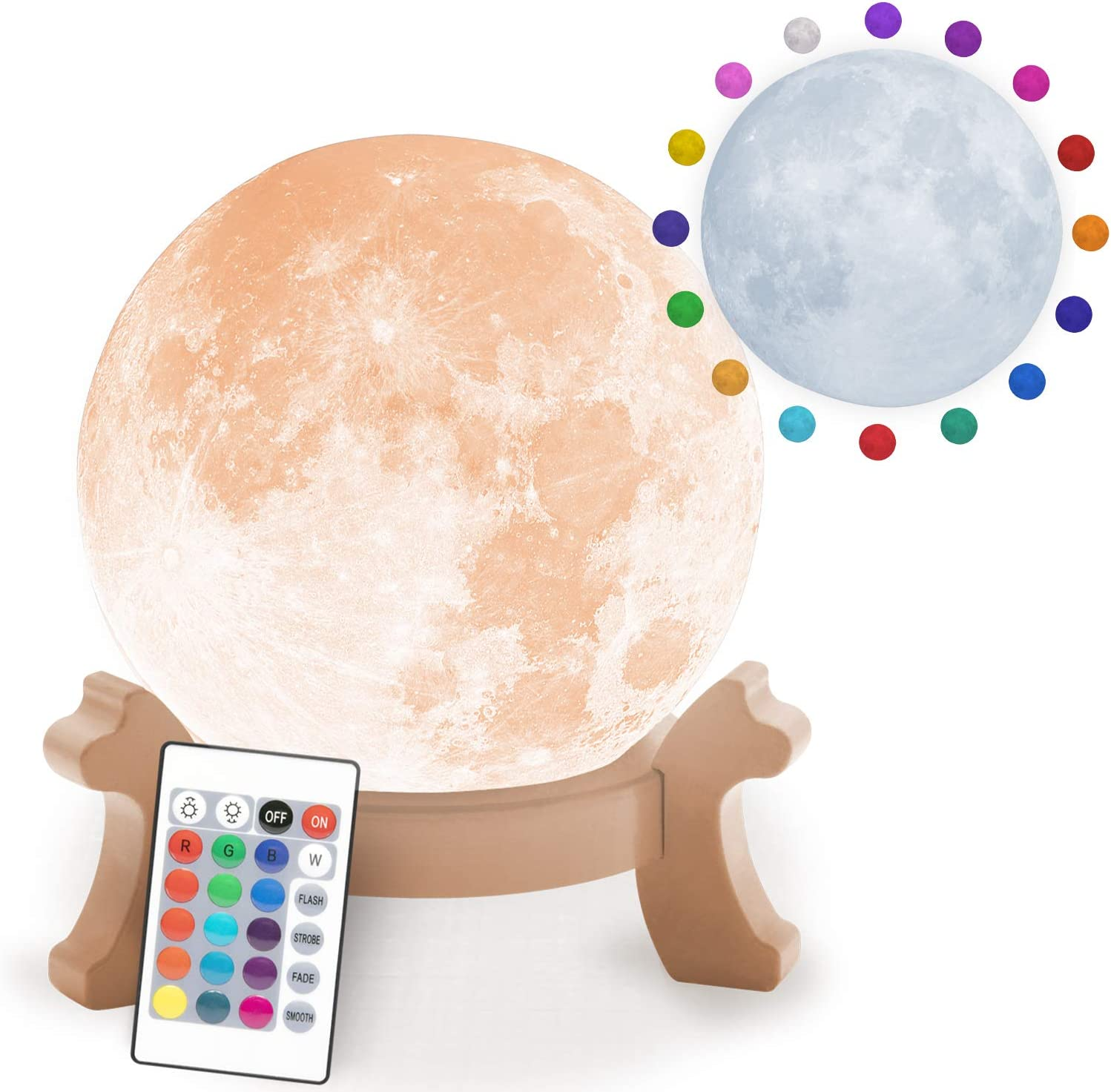 Full Moon Decorative & Realistic 3-D LED Moon Lamp Color Options & 16 Brightness Levels by BulbHead, 6.5 inch, Remote Control & Rechargeable Light