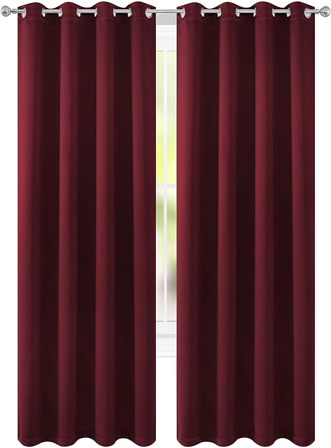 FLOWEROOM Blackout Curtains Thermal Insulated Draperies with Grommet for Bedroom, Burgundy Red, 52 by 84 inch, 2 Panels