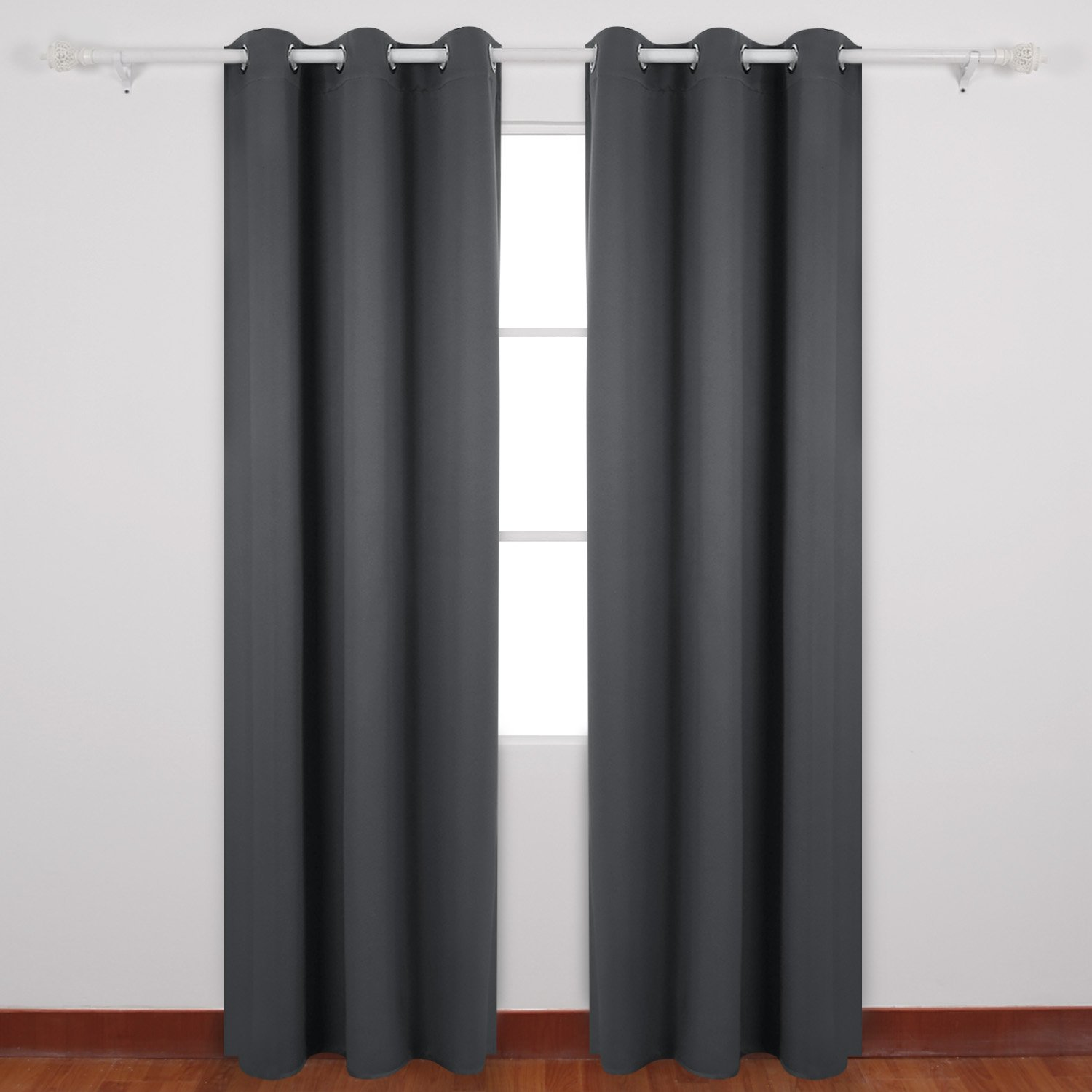 Deconovo Room Darkening Thermal Insulated Blackout Grommet Window Curtain For Living Room, Dark Grey