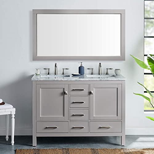 Eviva EVVN412-48GR-DS Aberdeen 48 inch Gray Transitional Double White Carrara Marble Countertop and Undermount Porcelain Sinks Bathroom Vanities, 48