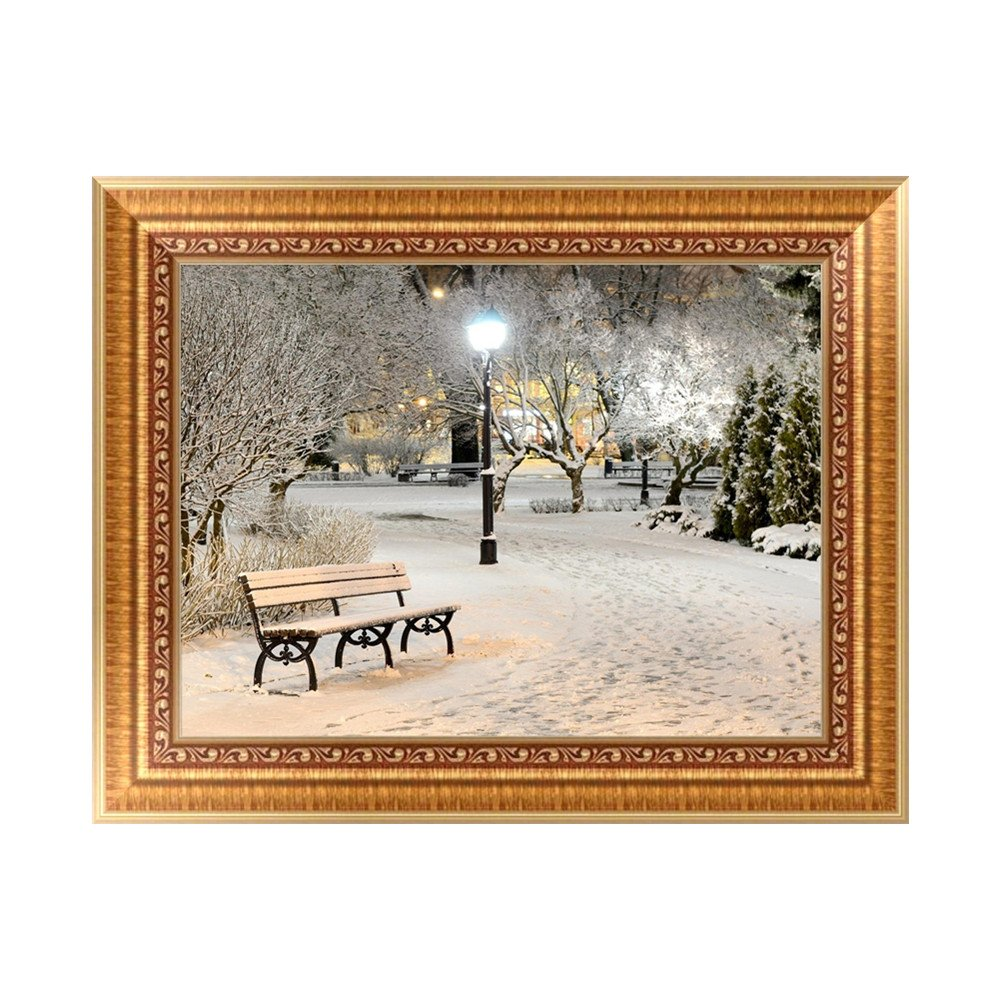 Feamos 5D Diamond Embroidery Kit Winter Park Cross Stitch Craft for DIY Wall Decor