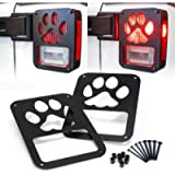 Xprite Tail Light Cover Guard' Dog Paw' for 2007-2018 Jeep Wrangler JK Unlimited Taillights- Pair