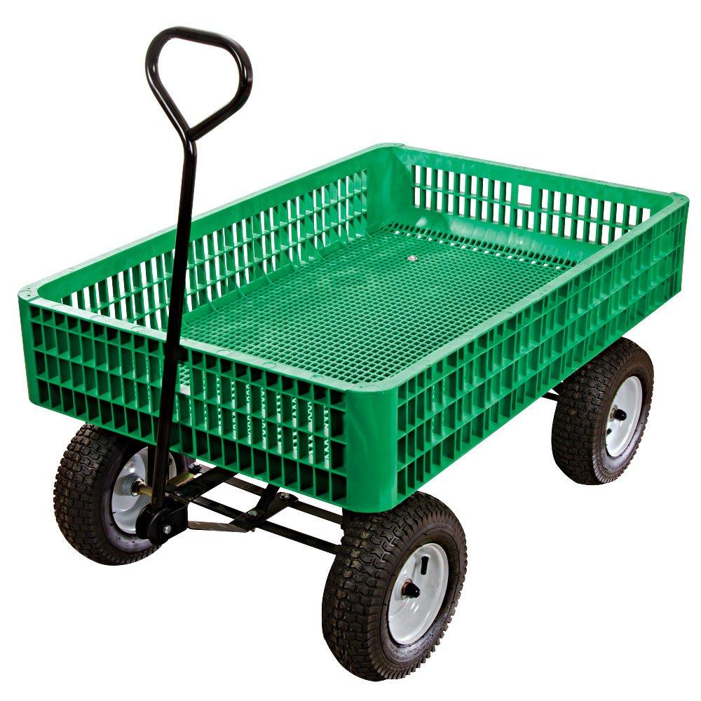 A.M. Leonard Green Utility Wagon with Flat-Free Tires - 30 x 46 x 7.5 Inch Tray by A.M. Leonard