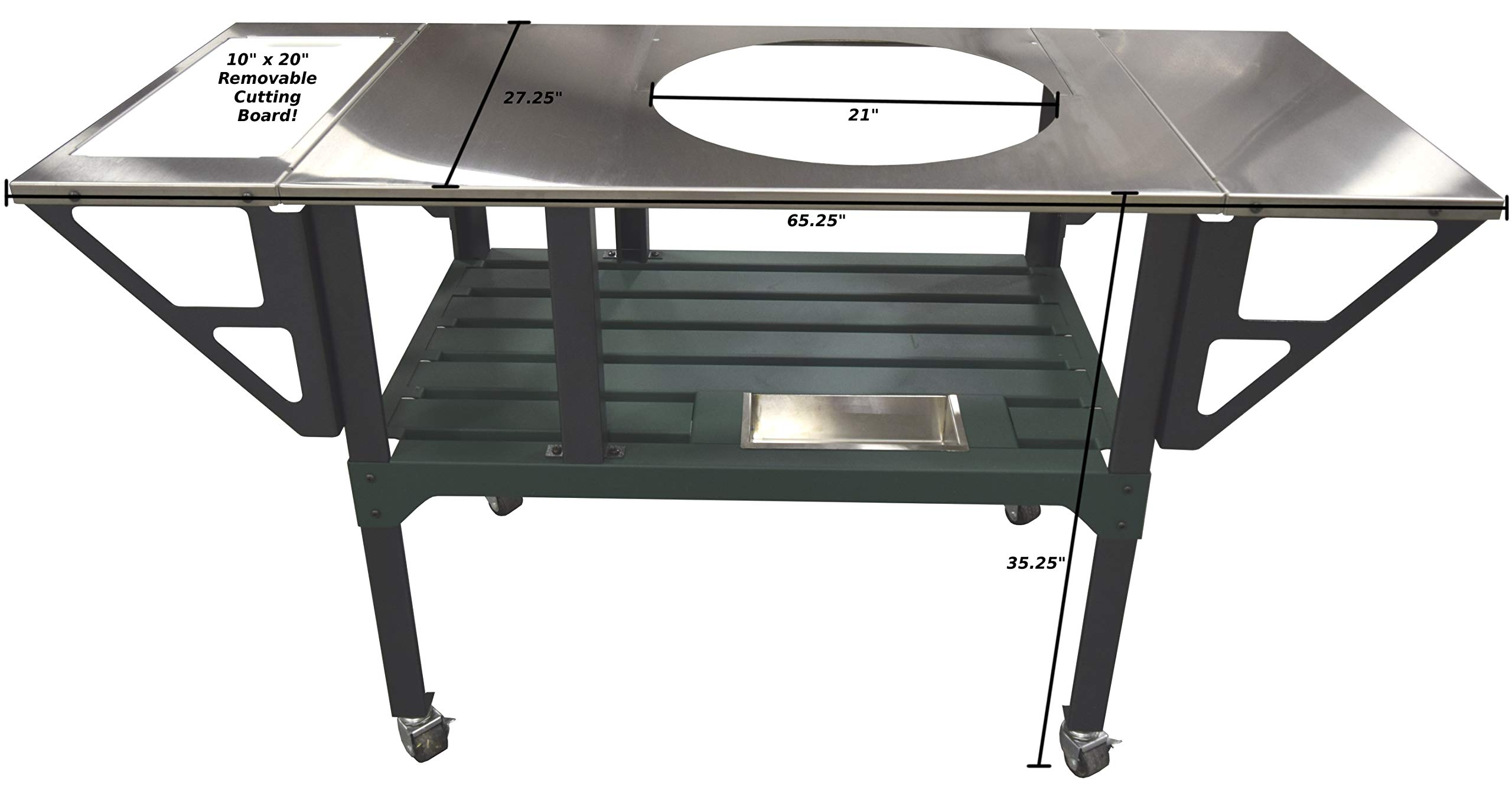 RMP Deluxe Universal Steel Grill Cart for Round Ceramic Grill, Fits a Large Big Green Egg Grill, Stainless Steel Finish Table Top, with Rotating and Locking Wheels by RMP (Image #2)