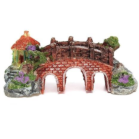Miniatura de resina en la parte superior del KINGSO del puente de diseño de Pecera Acuario