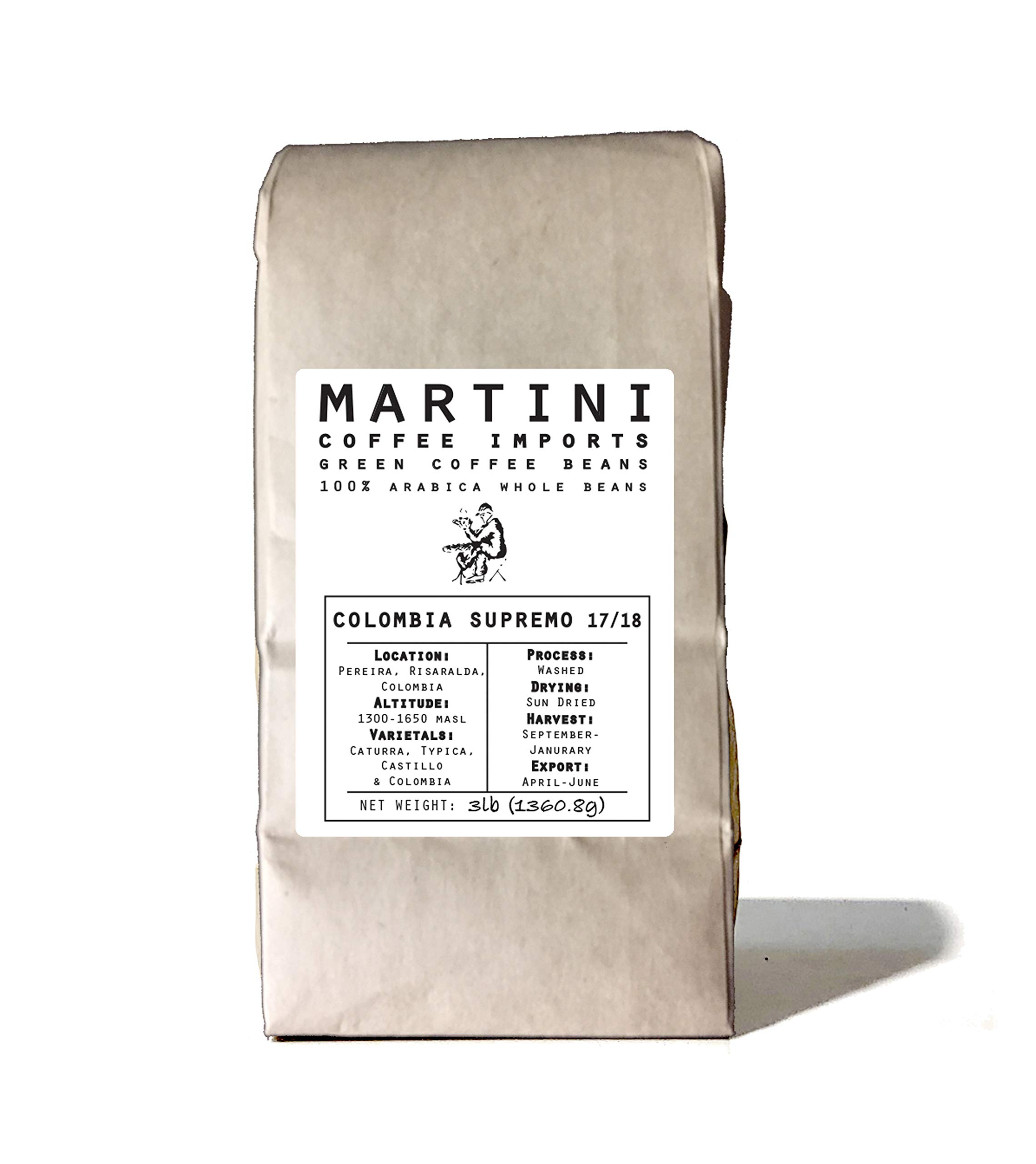 3Lbs, Single Origin Unroasted Green Coffee Beans, Colombia Supremo 17/18 by Martini Coffee Roasters
