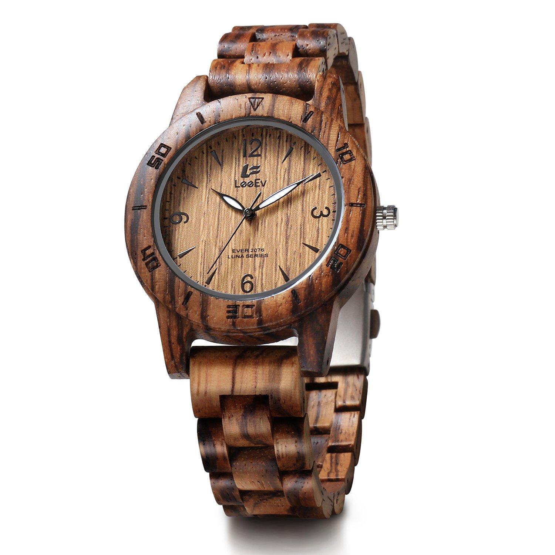 LeeEv EV2076 41.5 mm Luxury Natural Zebra Sandal Wood Watch Quartz Light Weight Vintage Wooden Wrist Watch (EV2076C)