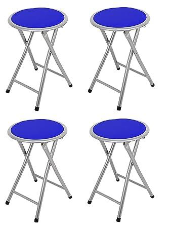 La Silla Española - Pack 4 Taburetes plegables fabricados en aluminio con asiento acolchado en PVC. Color azul. Medidas 45x30x30, 4 unidades