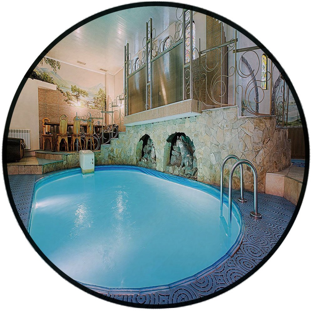 Printing Round Rug,Modern Decor,Vivid Blue Swimming Pool in Spa Interior Resort Relaxation Theraphy Theme Mat Non-Slip Soft Entrance Mat Door Floor Rug Area Rug For Chair Living Room,Blue Aqua Beige