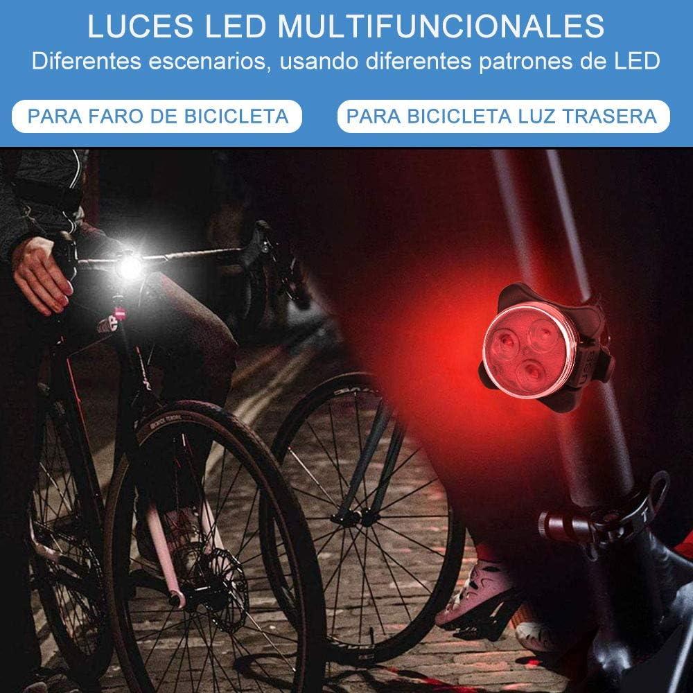 Ozvavzk Luz Bicicleta Recargable USB, Luces Bicicleta Delantera y Trasera Lámpara 4 Modo Reflector Bici Seguridad Faro de Señal con mpermeable Clip/Correa Silicona 2 Cable USB.: Amazon.es: Deportes y aire libre